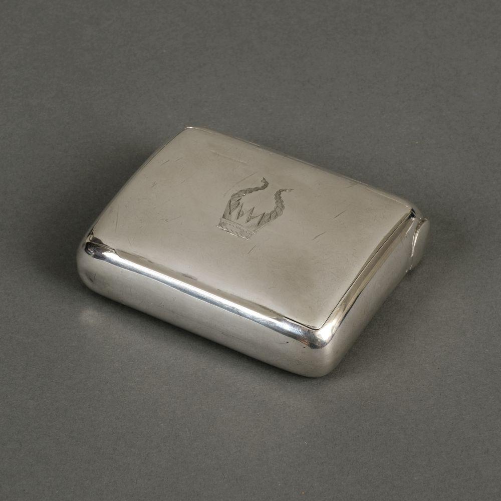 * Tobacco Box. An Edwardian silver tobacco box