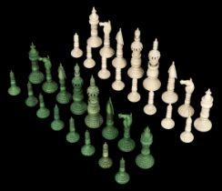 * Chess. An Indian ivory 'Pepys' chess set circa 1820