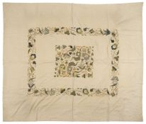 * Embroidered bedcover. An Arts & Crafts coverlet, early 20th century
