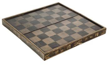 * Chess. A Regency period papier-mâché games board