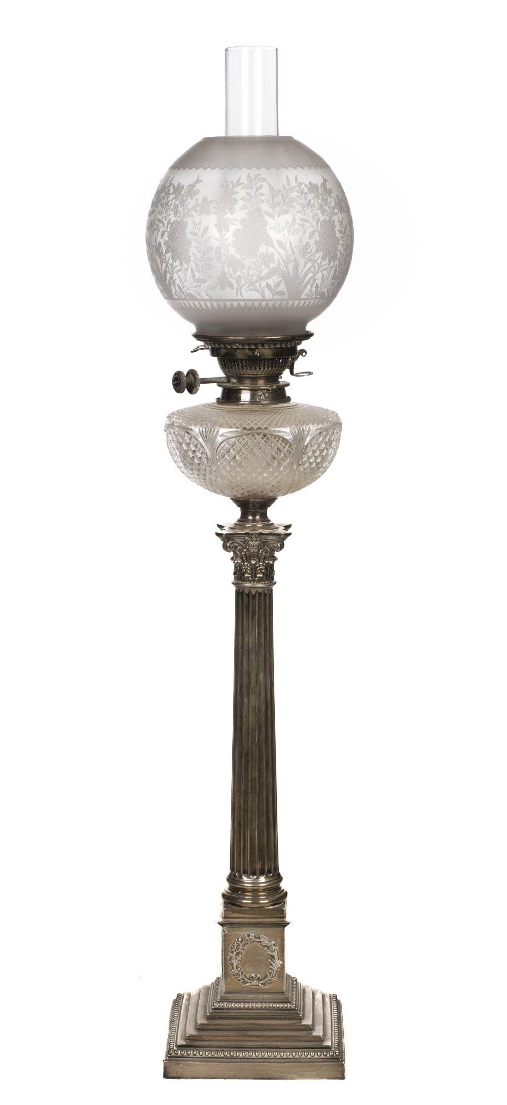 * Oil Lamp. An Edwardian silver oil lamp