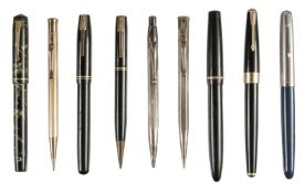 * Fountain Pens. A collection of pens including Parker and Watermans
