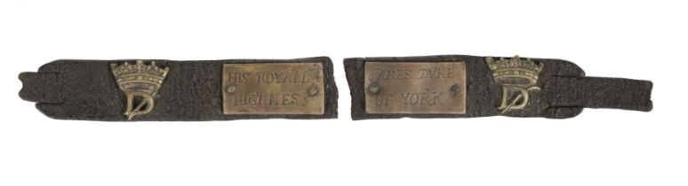 * Dog Collar. A late 17-century leather and brass dog collar engraved 'James Duke of York'