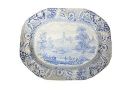 FONTHILL ABBEY: AN IRONSTONE BLUE AND WHITE MEAT PLATTER