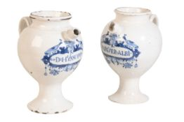 PAIR OF DUTCH DELFT BLUE AND WHITE WET DRUG JARS, LATE 18TH CENTURY