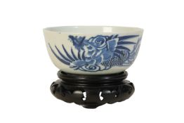 CHINESE BLUE & WHITE 'PHOENIX' BOWL, QING DYNASTY