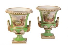 LARGE PAIR OF DERBY CAMPANA URNS, CIRCA 1820