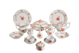 A HEREND PORCELAIN 'CHINESE BOUQUET' DINNER AND TEA SERVICE, 20TH CENTURY,