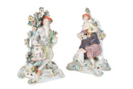 A PAIR OF CHELSEA-DERBY BOCAGE CANDLESTICK FIGURES, 18TH CENTURY,
