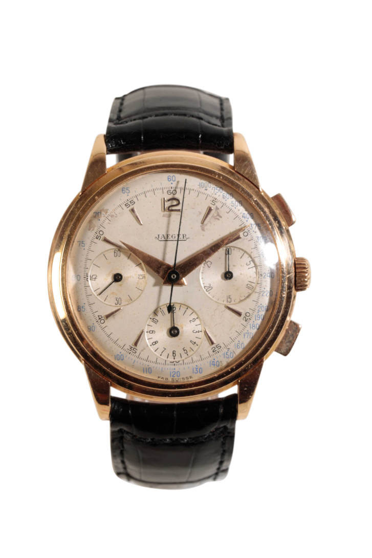JAEGER 18CT ROSE GOLD CHRONOGRAPH GENTLEMAN'S WRIST WATCH