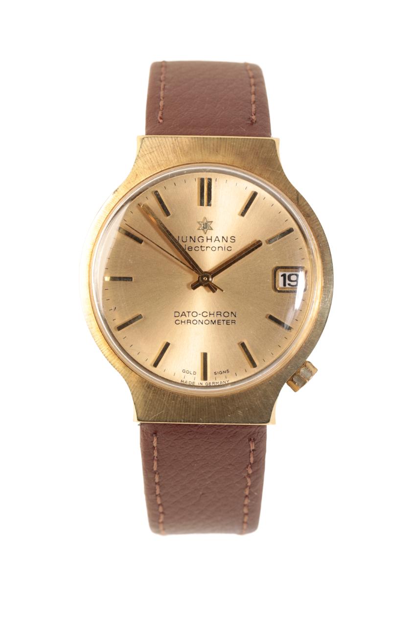 JUNGHANS 14CT GOLD ELECTRONIC DATO-CHRON GENTLEMAN'S WRIST WATCH,