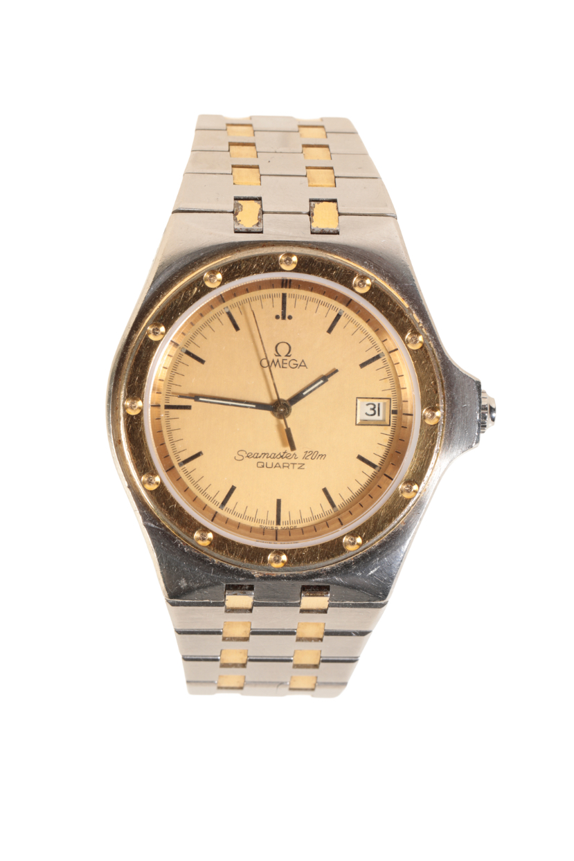 OMEGA SEAMASTER 120M GENTLEMAN'S GOLD PLATED AND STAINLESS STEEL BRACELET WATCH