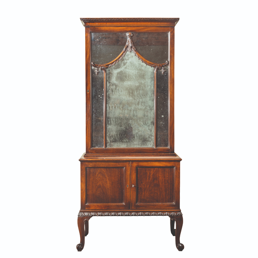A GEORGE II MAHOGANY LIBRARY CABINET