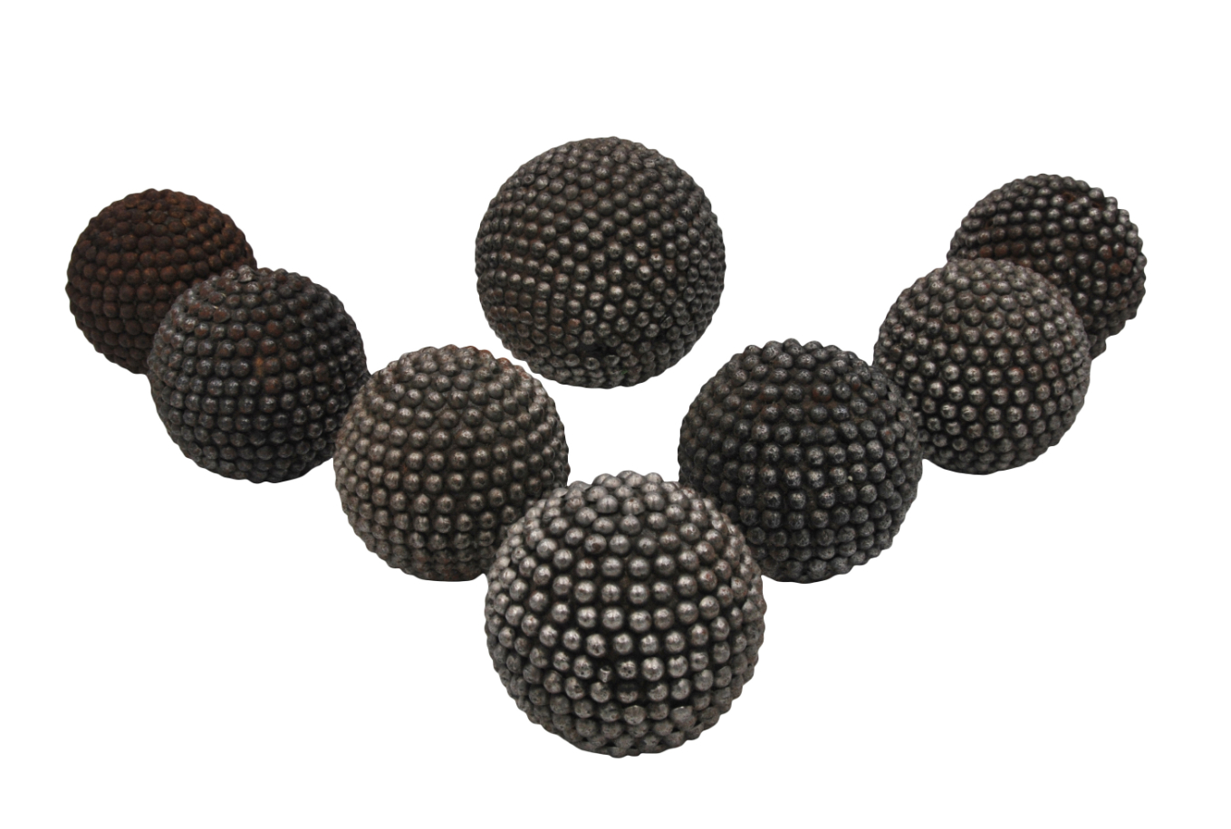 A GROUP OF EIGHT VICTORIAN METAL STUDDED CARPET BOWLS, - Image 3 of 4