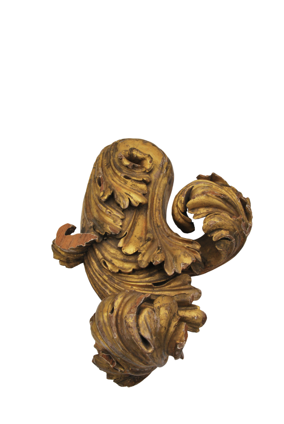 A FOLIATE CARVED AND GILT PINE CURTAIN POLE FINIAL, PROBABLY BY GILLOWS, - Image 4 of 5