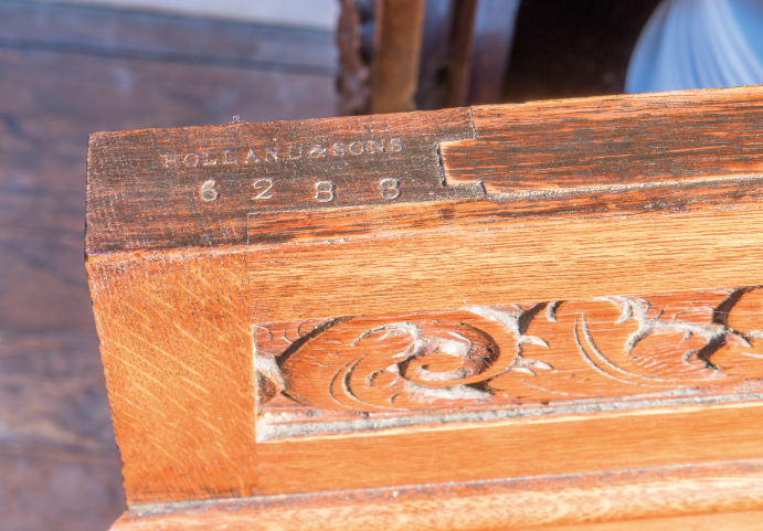 A PAIR OF CARVED OAK DINING ROOM PLATE CABINETS, BY HOLLAND & SONS, - Image 4 of 4