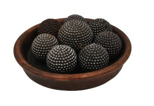 A GROUP OF EIGHT VICTORIAN METAL STUDDED CARPET BOWLS,