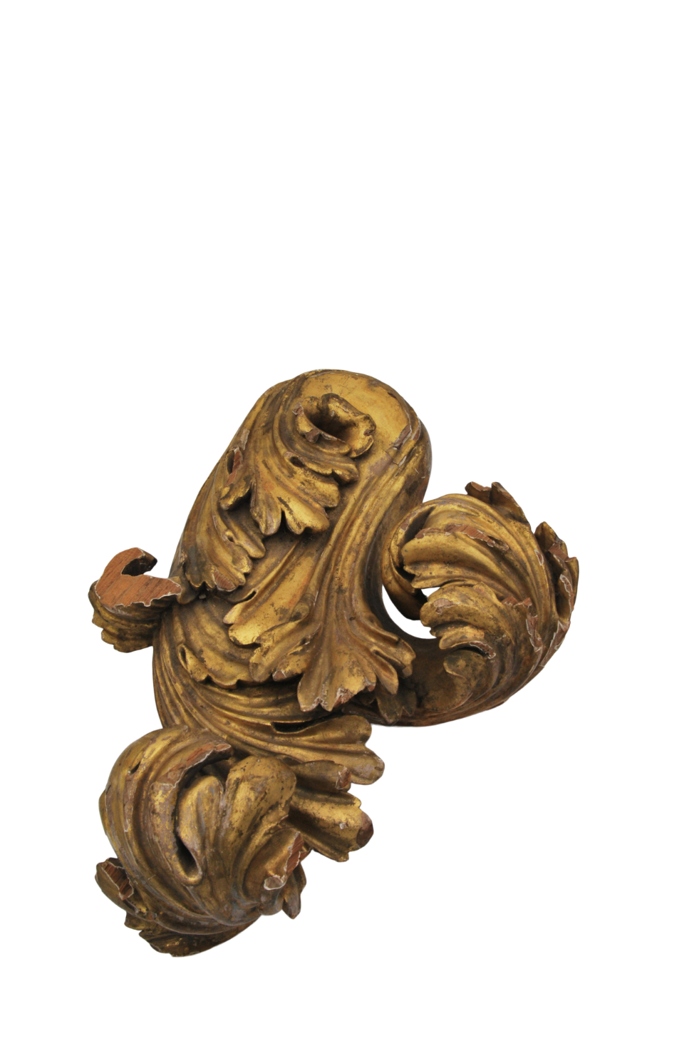 A FOLIATE CARVED AND GILT PINE CURTAIN POLE FINIAL, PROBABLY BY GILLOWS, - Image 3 of 5