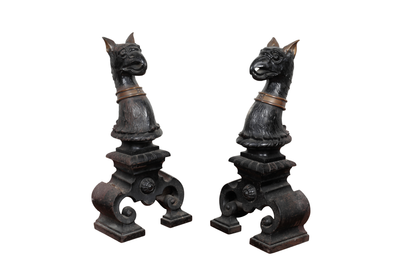 A PAIR OF VICTORIAN PAINTED CAST IRON HERALDIC FIRE DOGS,