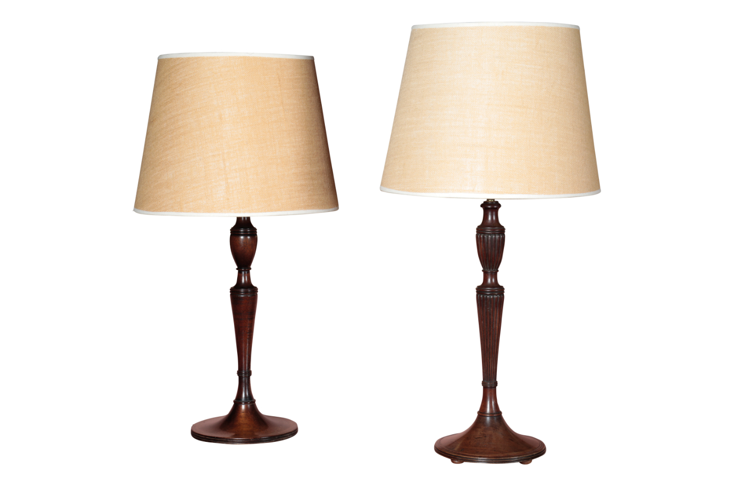TWO SIMILAR STAINED WOOD TABLE LAMPS, IN GEORGE III TASTE,