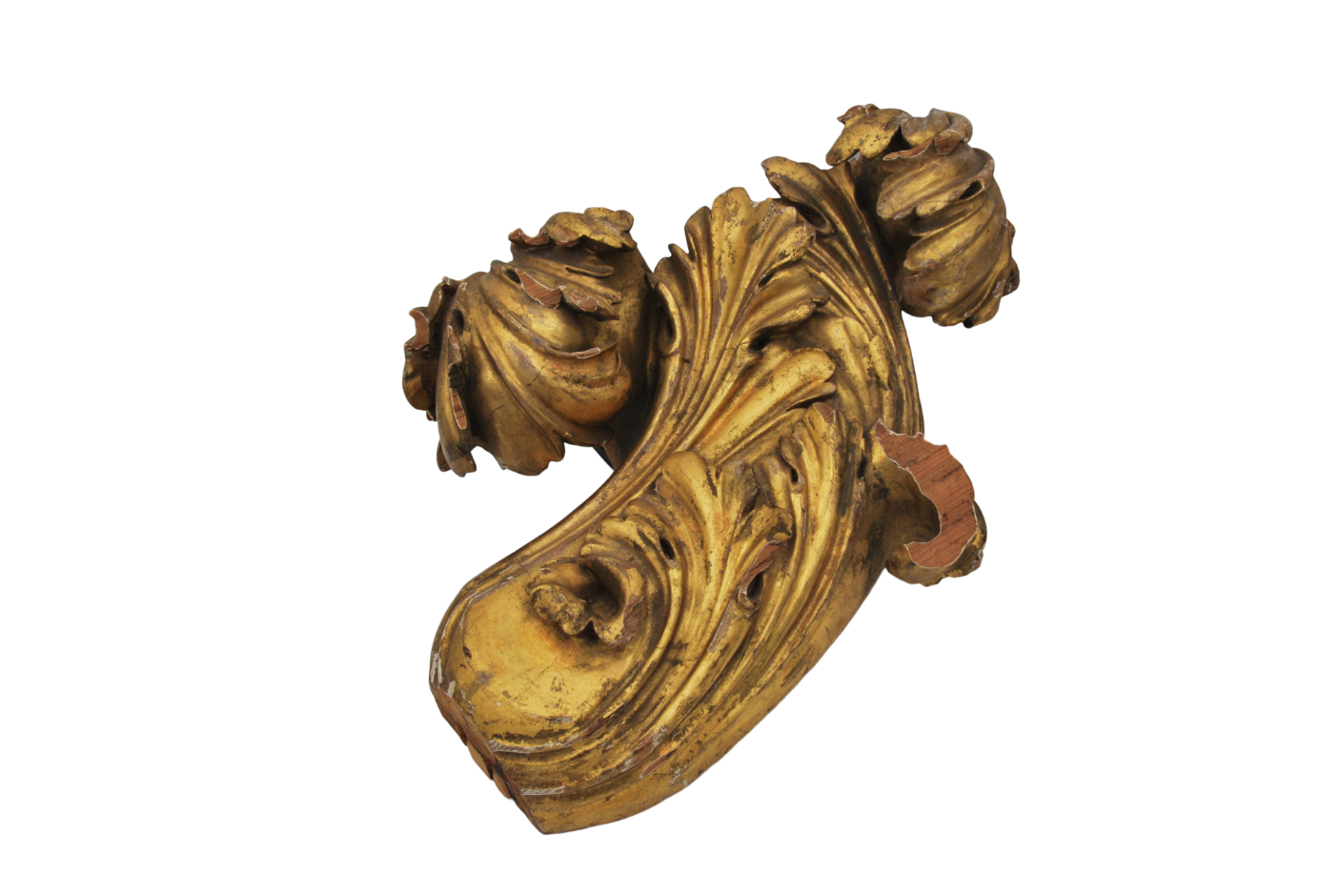 A FOLIATE CARVED AND GILT PINE CURTAIN POLE FINIAL, PROBABLY BY GILLOWS, - Image 5 of 5
