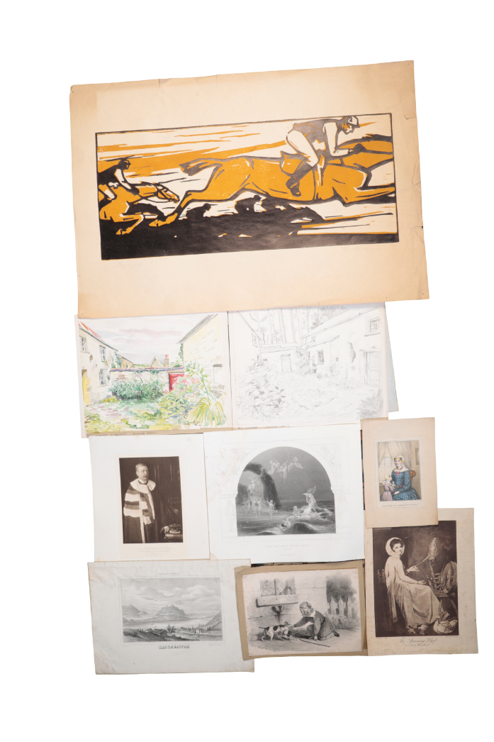 A LARGE QUANTITY OF UNFRAMED PICTURES AND PRINTS