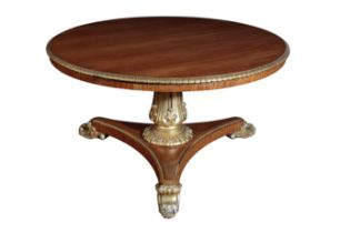 A GEORGE IV PARCEL GILT SATINWOOD CENTRE TABLE, BY WILLIAM RIDDLE,