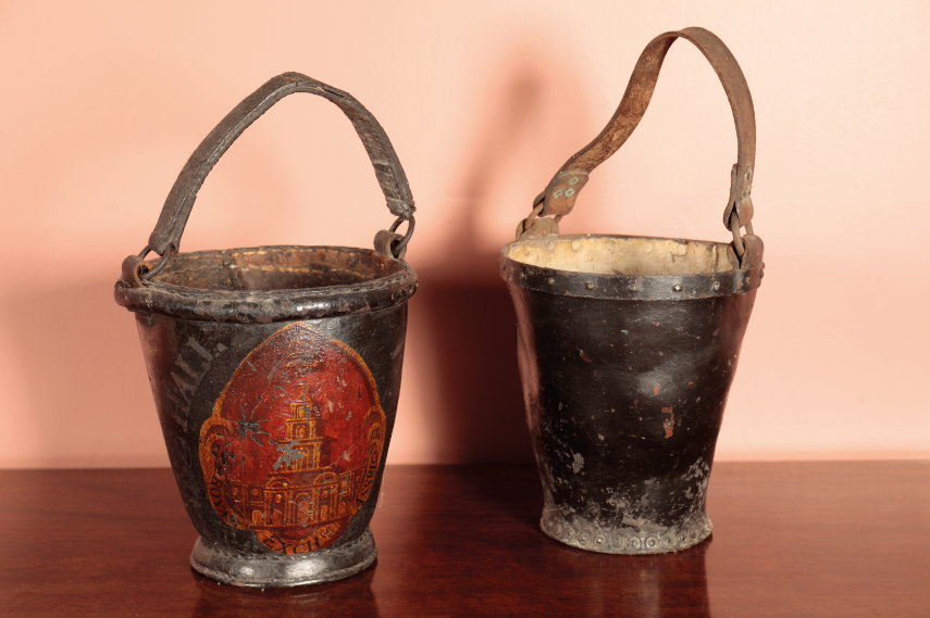 TWO GEORGE III LEATHER FIRE BUCKETS,