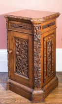 A PAIR OF CARVED OAK DINING ROOM PLATE CABINETS, BY HOLLAND & SONS,