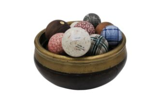 A COLLECTION OF VICTORIAN PAINTED WOOD AND CERAMIC CARPET BOWLS,