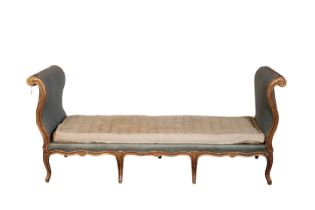 A LOUIS XV GILTWOOD AND UPHOLSTERED DAYBED,
