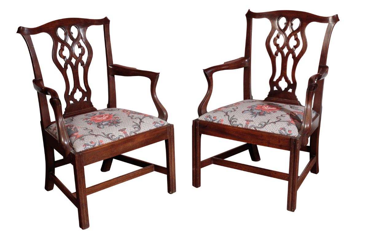A PAIR OF FINE GEORGE III MAHOGANY ELBOW CHAIRS, ATTRIBUTABLE TO GILLOWS, - Image 2 of 2