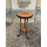 A VICTORIAN MAPLE AND CROSSBANDED LAMP TABLE, BY GREGORY & CO.,
