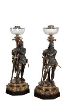 A PAIR OF FINE PATINATED AND PARCEL GILT BRONZE FIGURAL TABLE LAMPS,