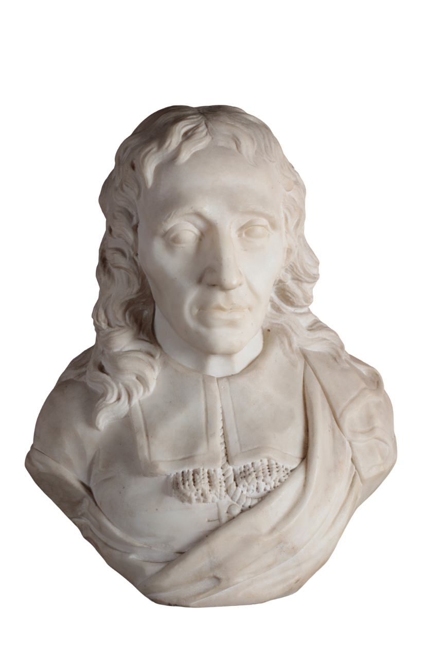 A SCULPTED WHITE MARBLE BUST OF JOHN MILTON (1608 - 1674),