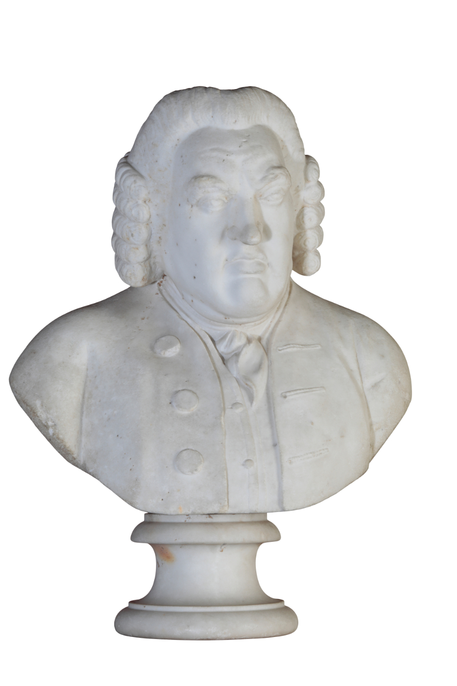 A SCULPTED WHITE MARBLE BUST OF DR SAMUEL JOHNSON,