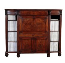 A REGENCY MAHOGANY ESTATE SECRETAIRE CABINET, ATTRIBUTABLE TO GILLOWS,
