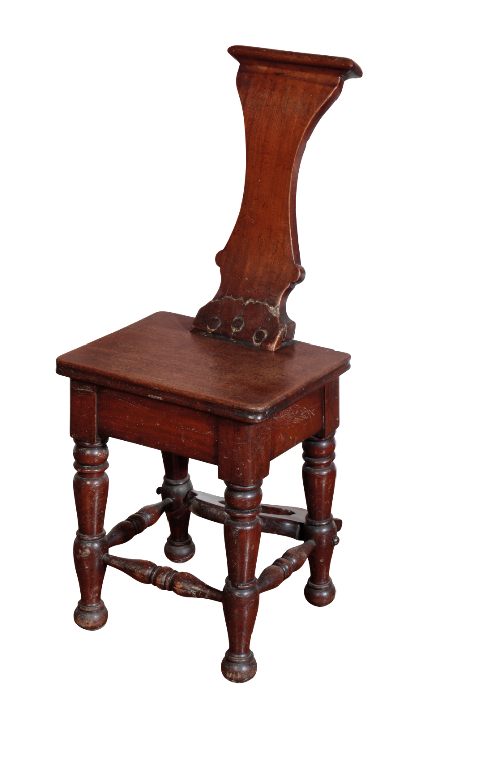 A GEORGE IV MAHOGANY AND WALNUT HALL CHAIR BOOT-PULL,