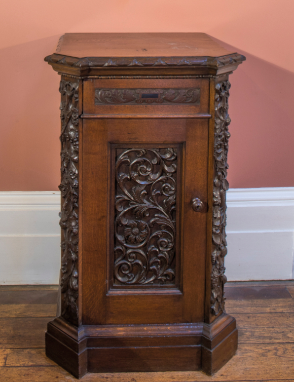 A PAIR OF CARVED OAK DINING ROOM PLATE CABINETS, BY HOLLAND & SONS, - Image 3 of 4