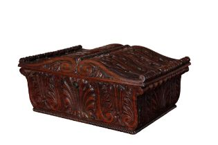 A FINE REGENCY CARVED ROSEWOOD BOX, ALMOST CERTAINLY BY GILLOWS,