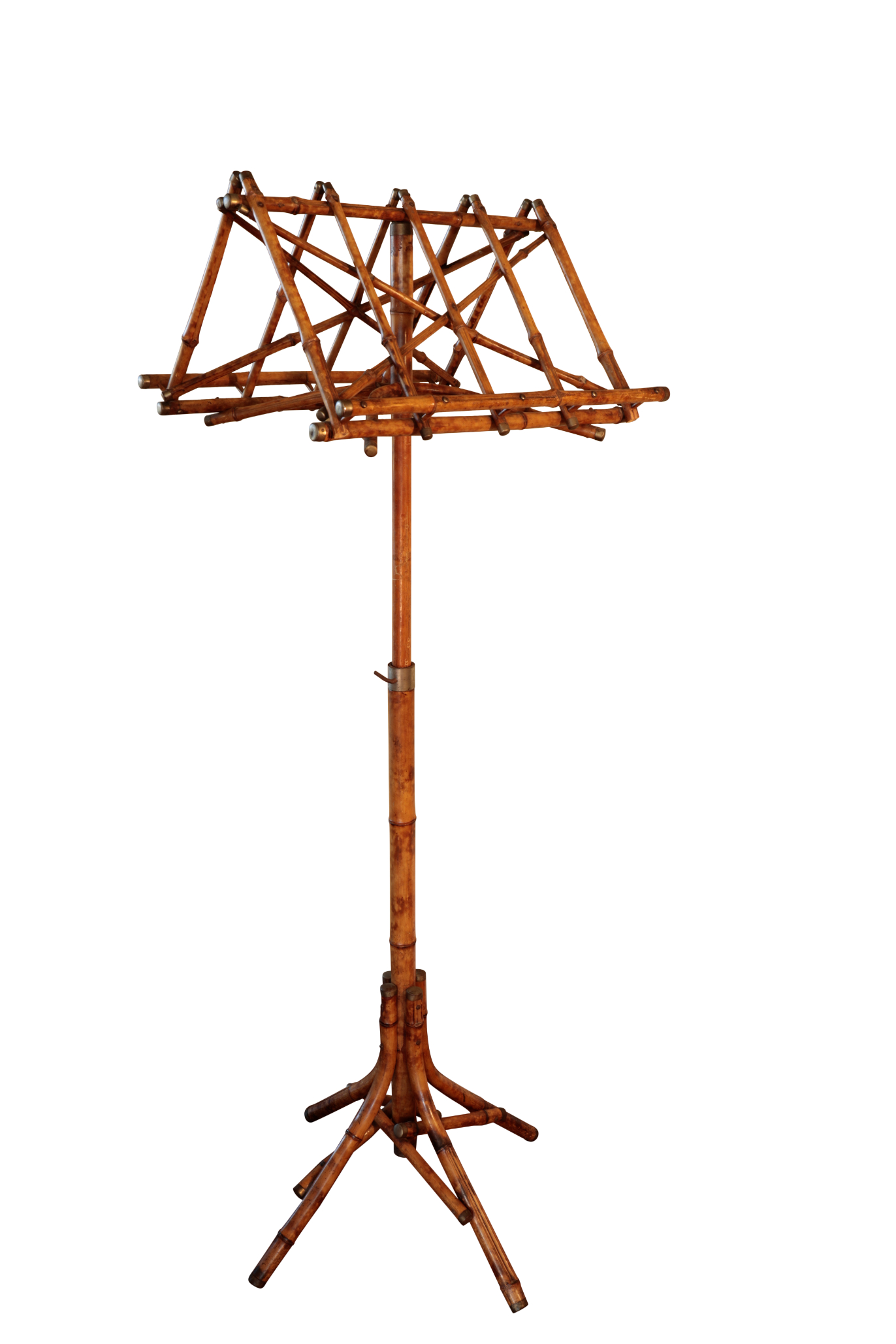 A BAMBOO AND BRASS MOUNTED DUET STAND,