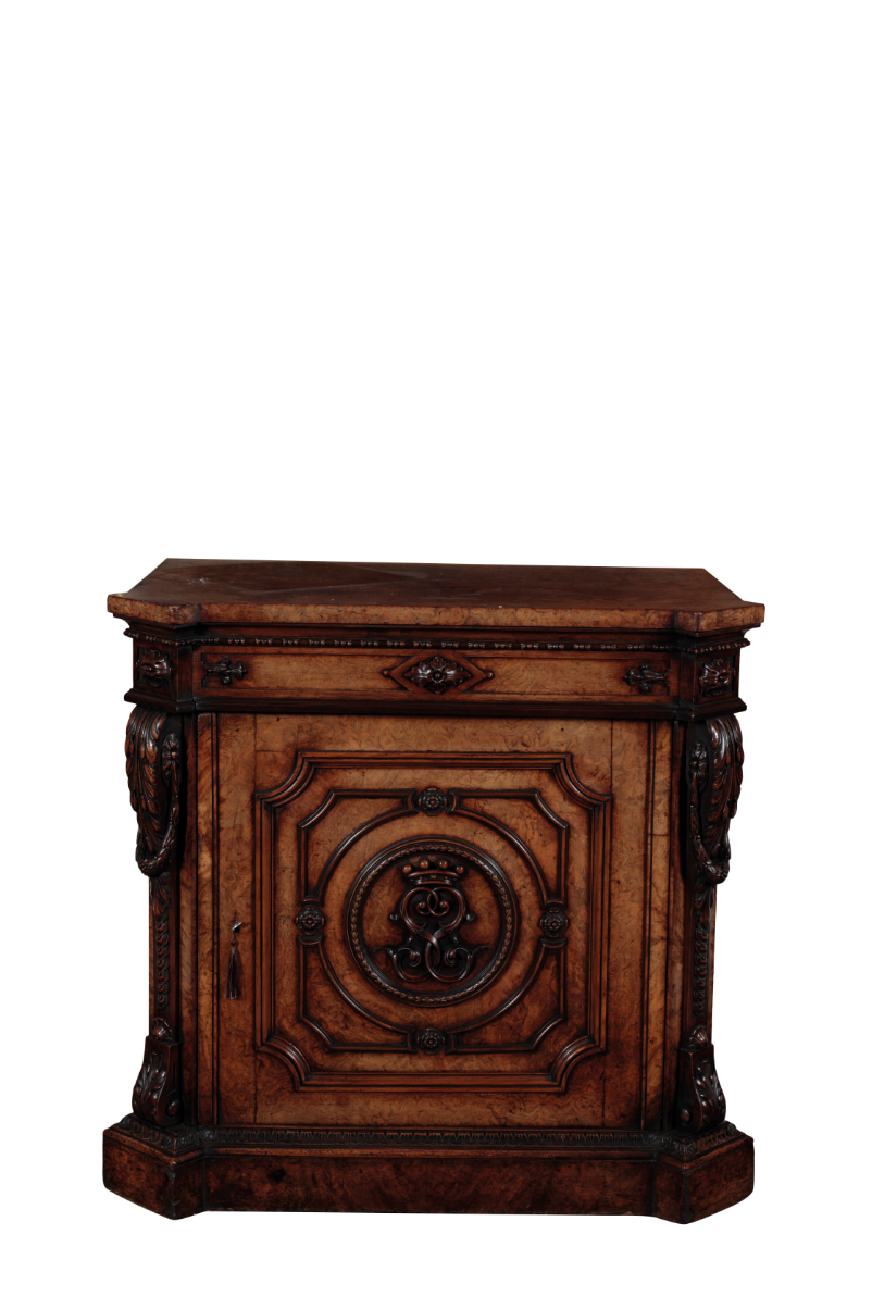 A FINE GEORGE IV POLLARD OAK PEDESTAL CABINET, POSSIBLY BY GILLOWS, - Image 2 of 2