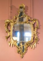 A PAIR OF GEORGE III STYLE GILTWOOD WALL MIRRORS,