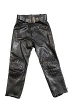 A PAIR OF LEATHER JEANS BY RIVETTS OF LONDON