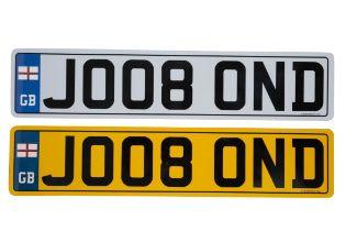 UK VEHICLE REGISTRATION NUMBER 'J008 0ND'