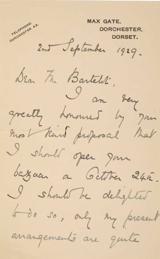 THOMAS HARDY INTEREST: A LETTER FROM MRS FLORENCE HARDY TO MR BARTELOT