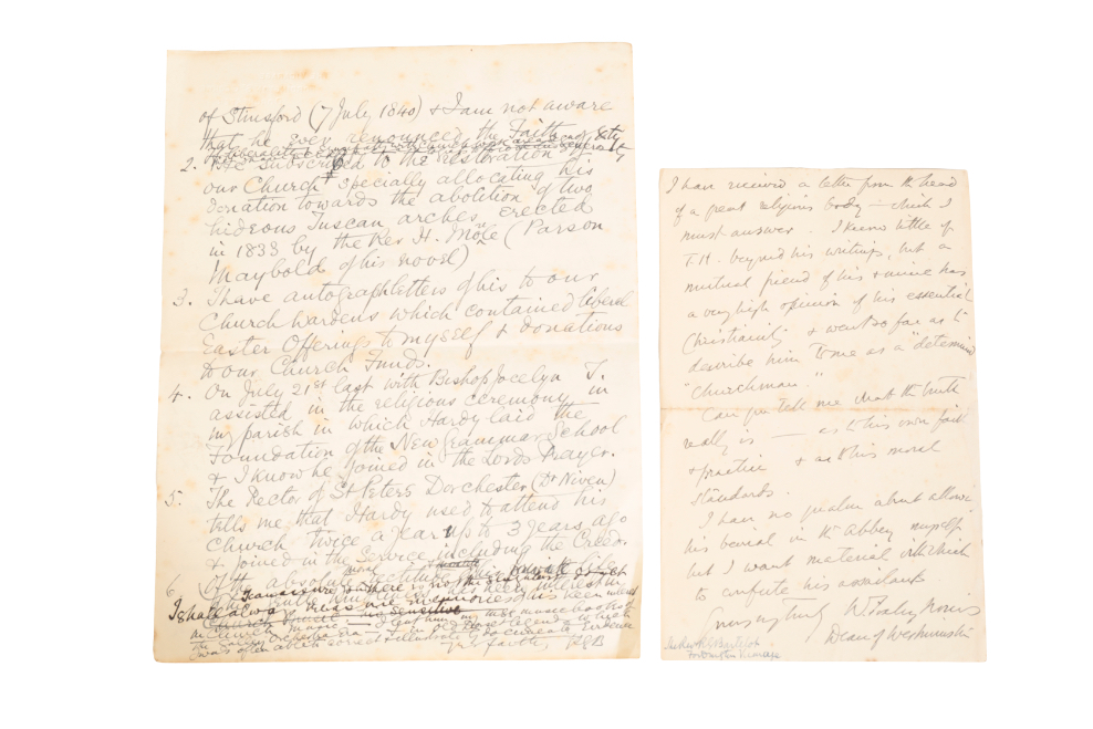THOMAS HARDY: A LETTER FROM THE DEAN OF WESTMINSTER - Image 2 of 2