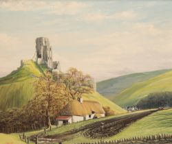 KIRBY (20TH CENTURY) A view of Corfe Castle