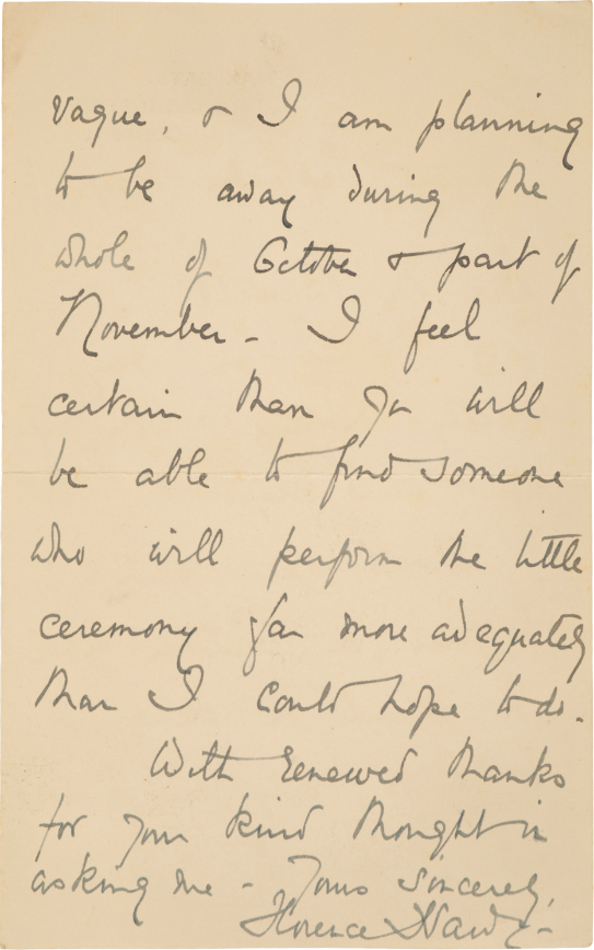 THOMAS HARDY INTEREST: A LETTER FROM MRS FLORENCE HARDY TO MR BARTELOT - Image 2 of 2