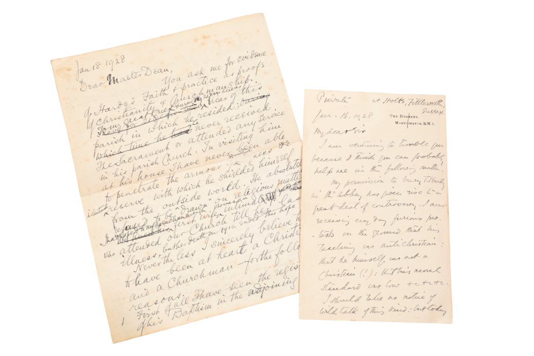THOMAS HARDY: A LETTER FROM THE DEAN OF WESTMINSTER